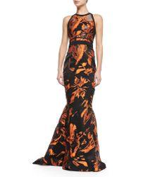 J. Mendel Floral Halter-neck Mermaid Gown - Lyst