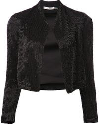 Alice + Olivia Black Sequined Jacket - Lyst