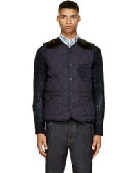 Junya Watanabe Navy Corduroy and Leather Quilted Vest - Lyst