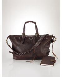 Ralph Lauren Studded Moto Leather Duffel - Lyst