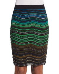 M Missoni Fancy Rippled Knit Pencil Skirt multicolor - Lyst
