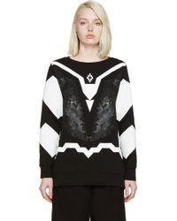 Marcelo Burlon Black And White Printed Coral Sweatshirt black - Lyst