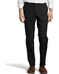 Prada Nero Virgin Wool French Zip Fly Flat Front Pants - Lyst