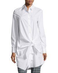 Thakoon Addition - Long-sleeve Side-tie Shirtdress - Lyst