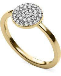 Michael Kors Gold-tone Crystal Pavé Disc Ring - Lyst