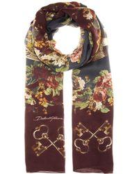 Dolce & Gabbana Printed Woolblend Scarf - Lyst