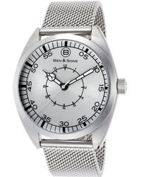 Ben Minkoff - Voyager Stainless Steel Mesh Black Dial Ss - Lyst