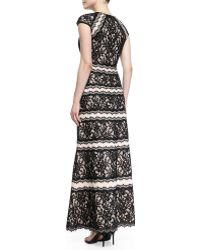 Tadashi Shoji Capsleeve Tiered Lace Gown - Lyst