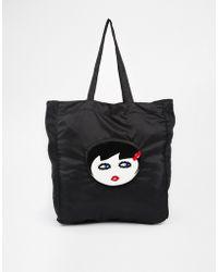 Lulu Guinness Doll Face Fold Away Shopper - Lyst