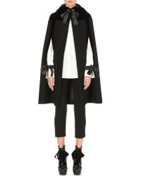 Alexander McQueen Velvet-panel Hooded Wool Cape - Lyst