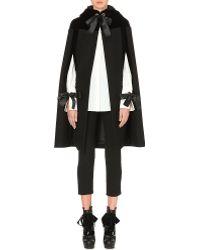 Alexander McQueen Velvet-panel Hooded Wool Cape black - Lyst