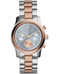 Michael Kors Two Tone Runway Watch, 38Mm - Lyst