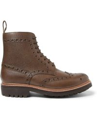 Foot The Coacher Fred Texturedleather Brogue Boots - Brown
