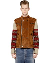 Ports 1961 Tapestry Fabric & Suede Biker Jacket - Brown