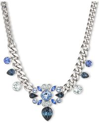 Givenchy Silver Tone and Multi Blue Crystal Necklace - Lyst