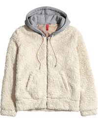 H&M Pile Jacket with A Hood - Lyst