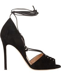 Gianvito Rossi Lace-Up D'Orsay Sandals black - Lyst