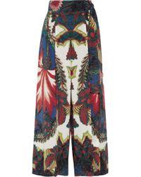 Roberto Cavalli Printed Washedsilk Wideleg Pants - Lyst