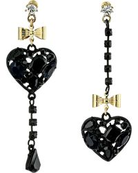 Betsey Johnson Black Hearts Heart Nonmatching Earrings - Lyst