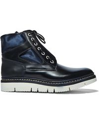 OAMC - Men's Mara Chunky Leather Ankle Boots In Navy - Lyst