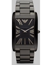 Emporio Armani Stainless Steel Rectangular Watch - Lyst