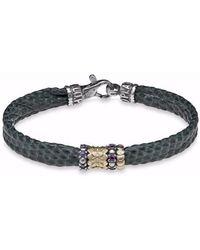 Platadepalo - Silver & Bronze Green Leather Bracelet - Lyst