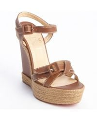 Christian Louboutin Cognac Leather and Jute Zero Problem 140 Wedge Sandals - Lyst