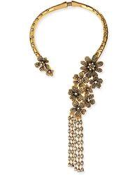 Oscar de la Renta Metallic Floral Collar Necklace - Lyst