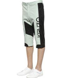KENZO Cropped Cotton Linen Biker Trousers - Green