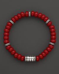 John Hardy Mens Batu Bedeg Silver Beads Bracelet with Reconstructed Coral - Lyst