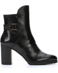 Tod's Black Leather T85 Up Troncetto Ankle Booties - Lyst