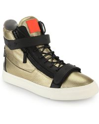 Giuseppe Zanotti Perforated Leather High-Top Sneakers - Lyst