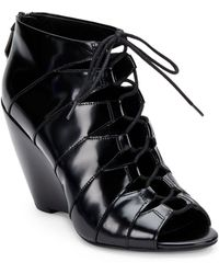 Kenneth Cole Barclay Leather Lace-Up Wedge Sandals - Lyst