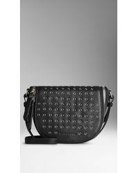 Burberry Small Eyelet Detail Leather Crossbody Bag - Lyst