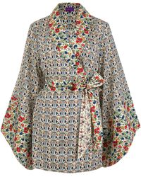 Liberty - Multicolour Mauverina And Floribunda Cotton Kimono - Lyst