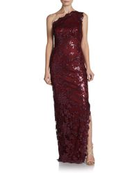 Tadashi Shoji One-Shoulder Sequined Lace Gown - Lyst