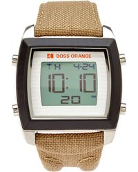 BOSS Orange - Silver-tone  Tan Digital Watch - Lyst
