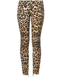 Balmain Leopardprint Midrise Skinny Biker Jeans - Lyst