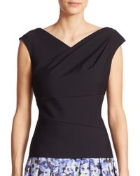 Kay Unger Stretch Jersey Ruched Top - Lyst