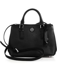 Tory Burch Robinson Double-Zip Saffiano Leather Satchel - Lyst