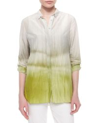 Elie Tahari Carly Printed Pleated-Back Blouse - Lyst