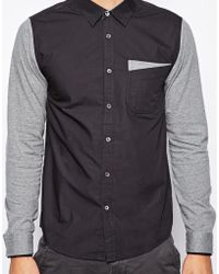 Izzue - Shirt with Jersey Sleeves - Lyst