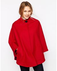 Helene Berman Collarless Cape With Concealed Button Front - Lyst