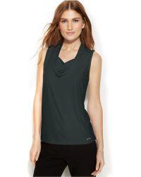 Calvin Klein Sleeveless Drape-neck Top - Lyst