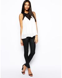 TFNC Chiffon Top With Lace Panel black - Lyst