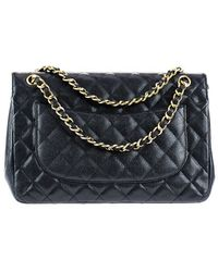 Chanel   Pre-owned: Black Caviar Leather Jumbo Double Flap Bag   Lyst