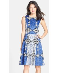 Maggy London Print Cotton Sateen Fit & Flare Dress - Lyst