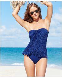 Lauren by Ralph Lauren Crochet Flyaway One-Piece Swimsuit - Lyst