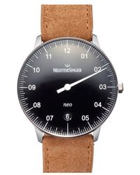 Meistersinger - 'neo' Automatic Single Hand Leather Strap Watch - Lyst