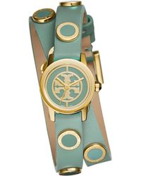 Tory Burch Reva Mini Goldtone Stainless Steel & Studded Leather Strap Watch/Windsurf - Lyst